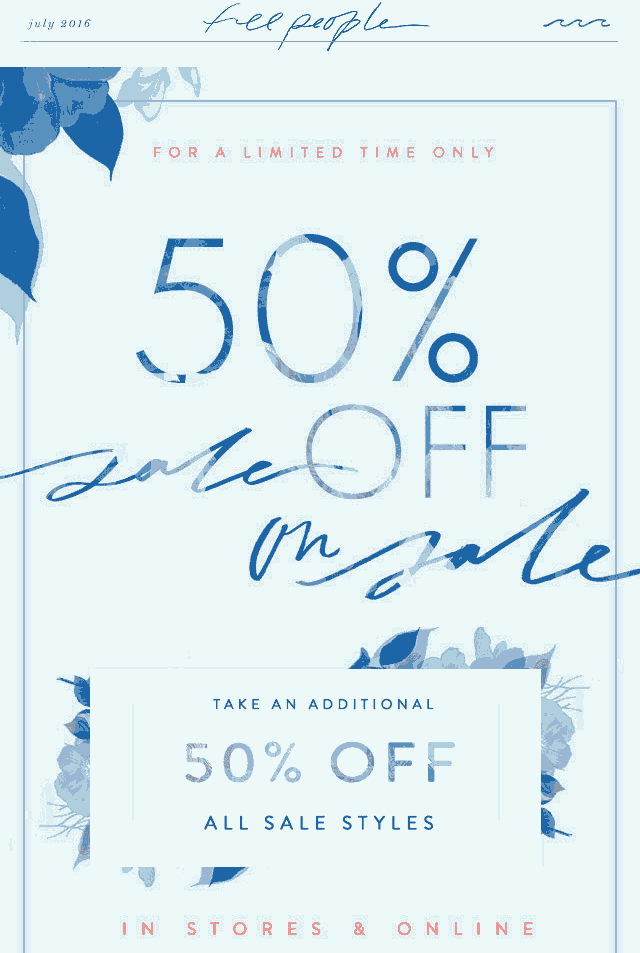 FreePeople.com Promo Coupon Extra 50% off sale styles at Free People, ditto online