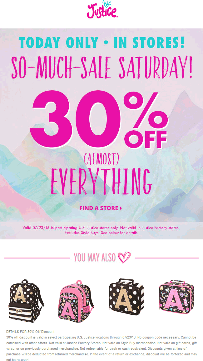Justice Coupon July 2017 30% off everything today at Justice