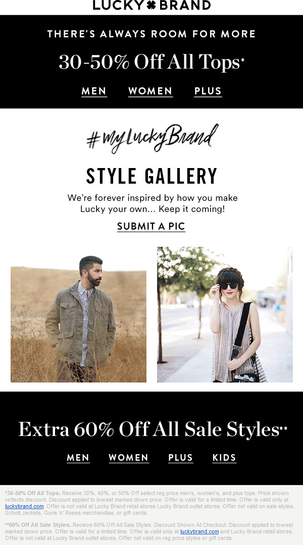 Lucky Brand Coupon February 2017 Extra 60% off sale styles & more at Lucky Brand, ditto online