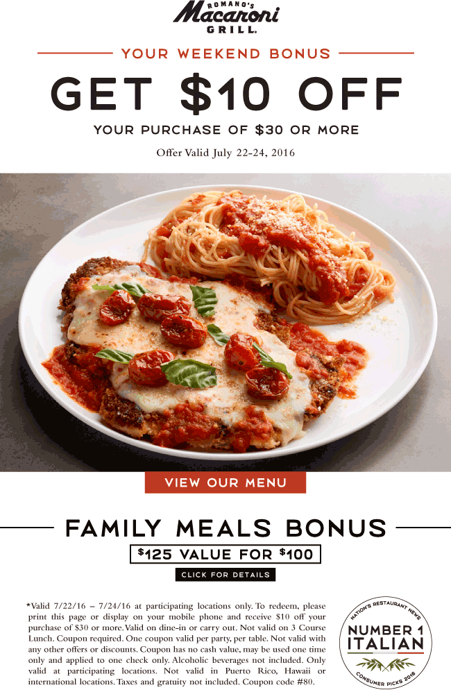 Macaroni Grill Coupon January 2017 $10 off $30 at Macaroni Grill restaurants