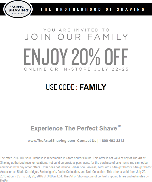The Art Of Shaving Coupon March 2018 20% off at The Art of Shaving, or online via promo code FAMILY