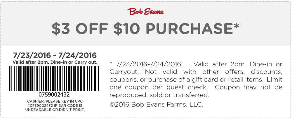 Bob Evans Coupon November 2017 $3 off $10 today at Bob Evans restaurants