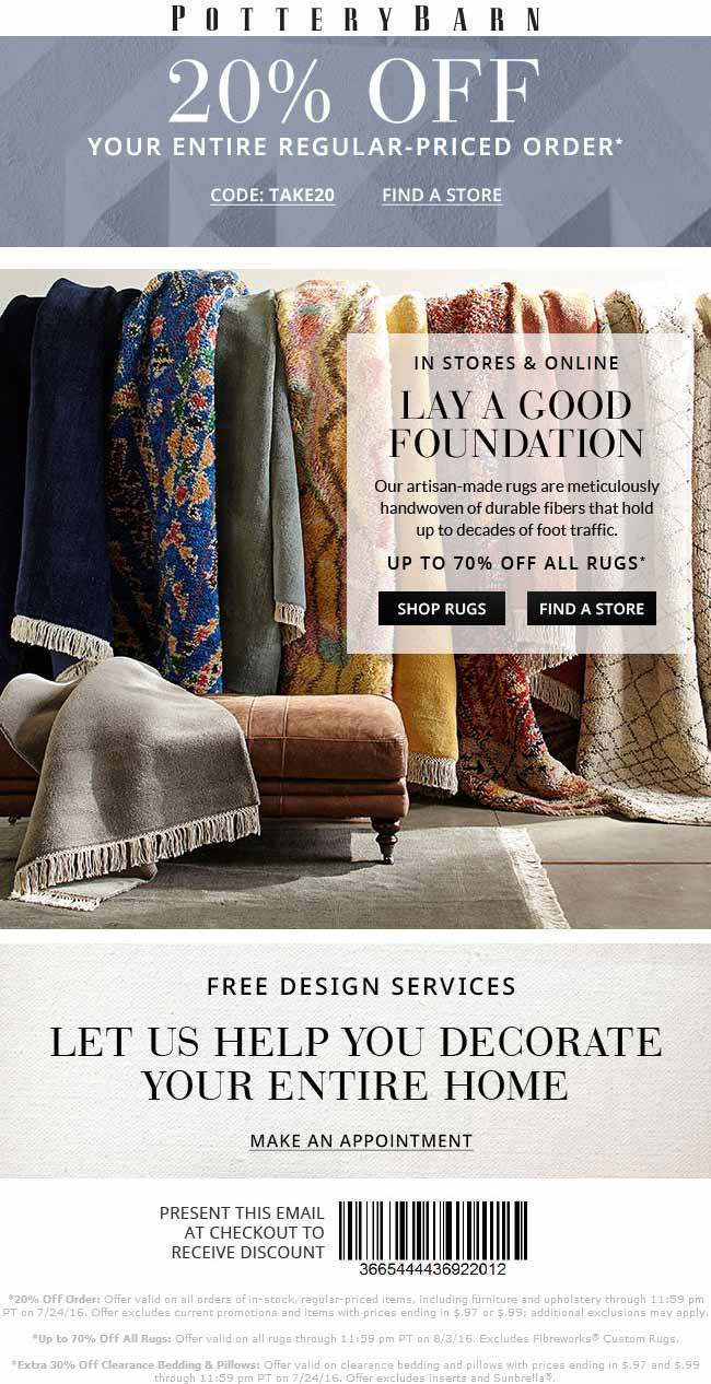 Pottery Barn Coupon July 2017 20% off today at Pottery Barn, or online via promo code TAKE20
