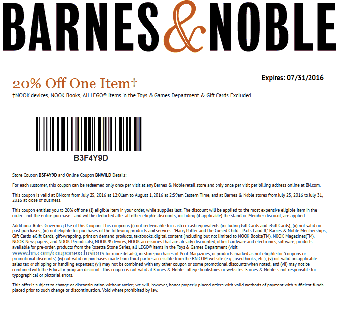 Barnes & Noble Coupon October 2016 20% off a single item at Barnes & Noble, or online via promo code BNWILD