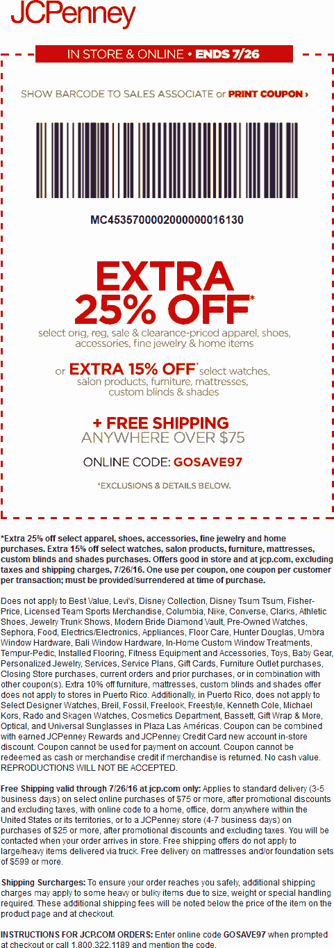 JCPenney Coupon November 2017 Extra 25% off at JCPenney, or online via promo code GOSAVE97