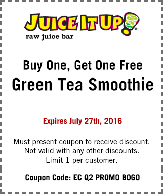 Juice it Up Coupon November 2017 Second green tea smoothie free at Juice it Up juice bar