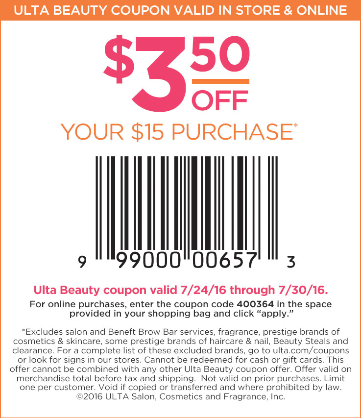Ulta Beauty Coupon December 2016 $3 off $15 at Ulta Beauty, or online via promo code 400364