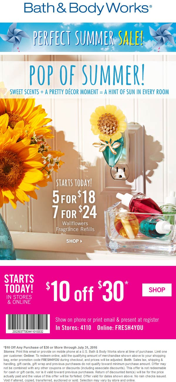 Bath & Body Works Coupon September 2017 $10 off $30 at Bath & Body Works, or online via promo code FRESH4YOU