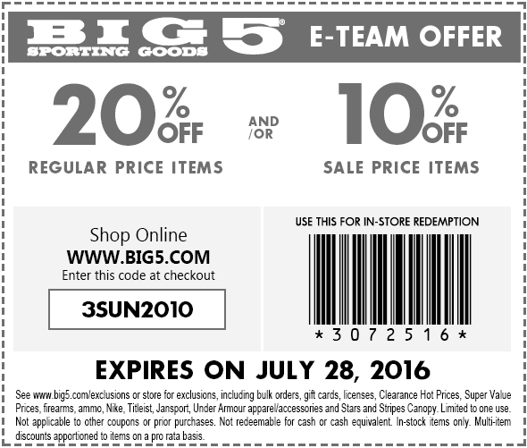 Big 5 Coupon February 2018 20% off at Big 5, or online via promo code 3SUN2010