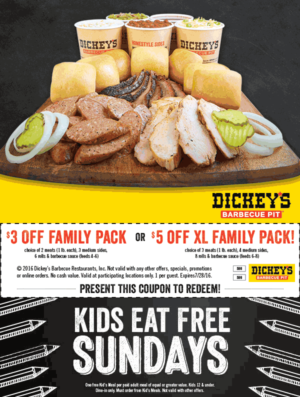 Dickeys Barbecue Pit Coupon January 2018 $3-$5 off a family pack at Dickeys Barbecue Pit restaurants