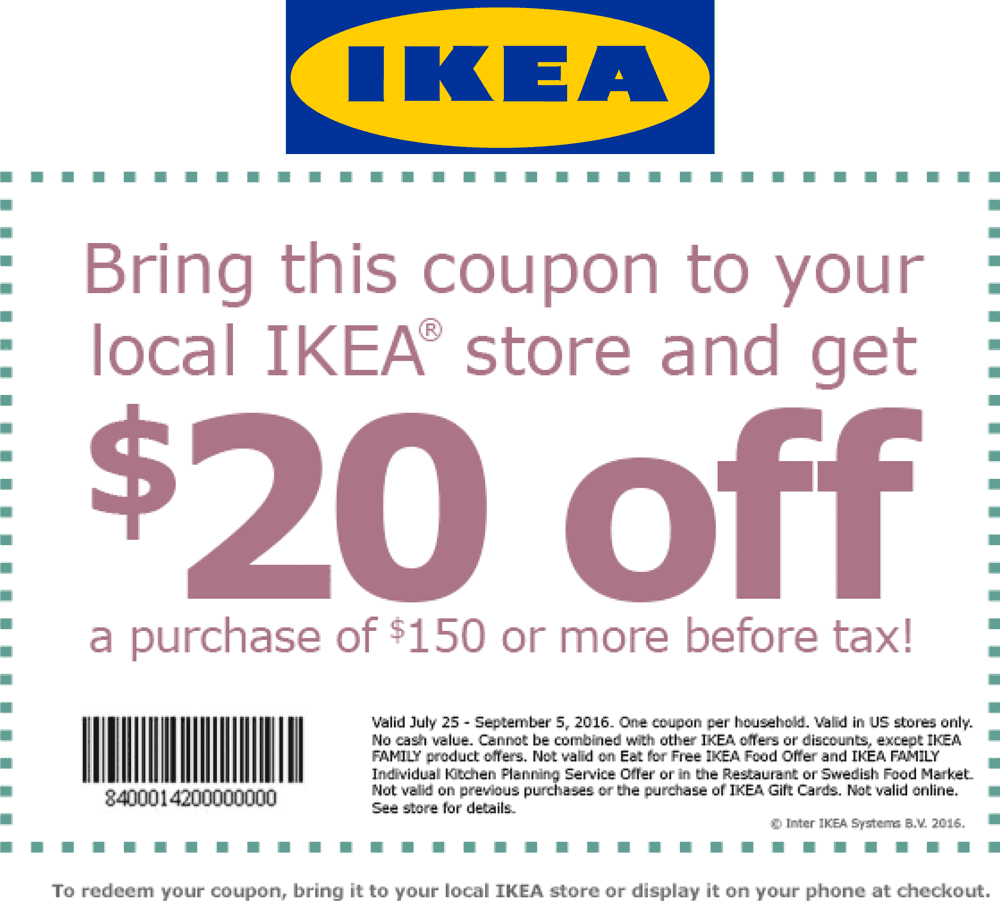 IKEA Coupon January 2017 $20 off $150 at IKEA