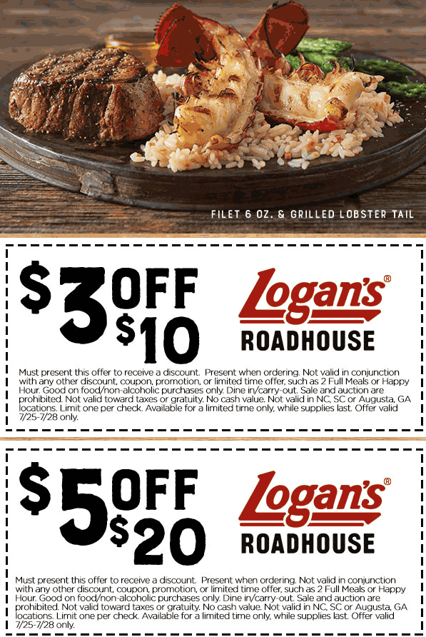 Logans Roadhouse Coupon March 2018 $3 off $10 & more at Logans Roadhouse restaurants