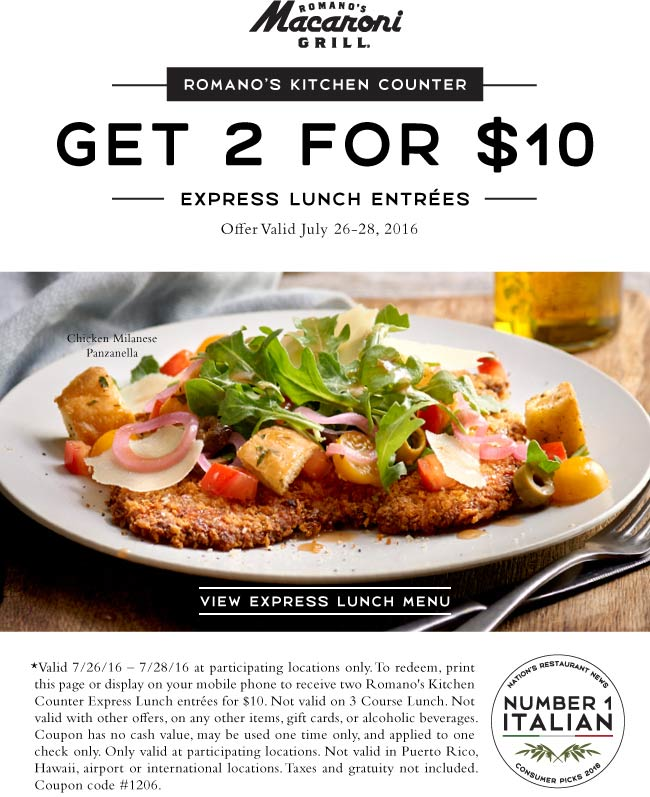 Macaroni Grill Coupon April 2019 Two lunches for $10 at Macaroni Grill
