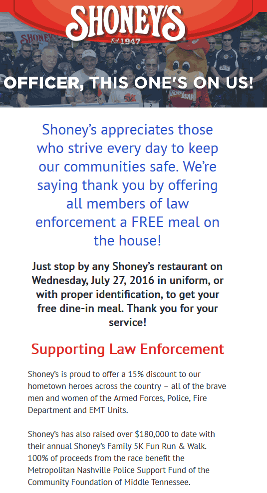Shoneys Coupon March 2018 Law enforcement enjoy a free meal Wednesday at Shoneys
