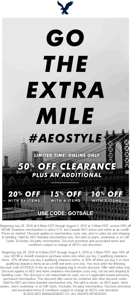 American Eagle Outfitters Coupon October 2016 50% & more off clearance online at American Eagle Outfitters via promo code GOTSALE