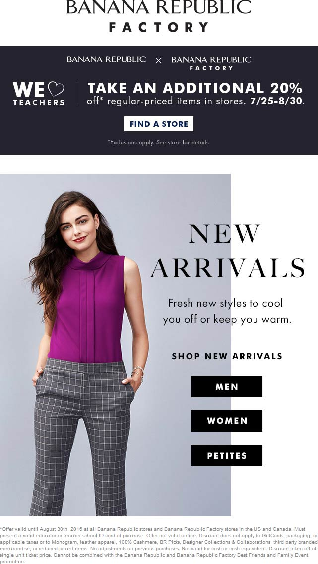 Banana Republic Coupon March 2017 Teachers knock another 20% off at Banana Republic & factory locations