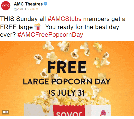 AMCTheatres.com Promo Coupon Stubs members get a free large popcorn Sunday at AMC Theatres