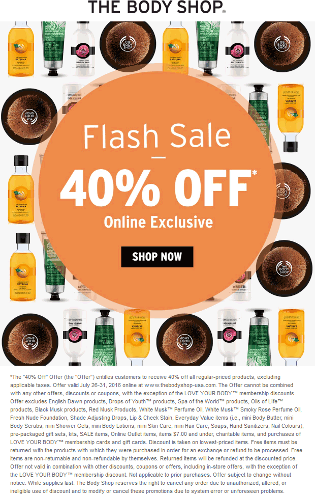 The Body Shop Coupon April 2017 40% off online at The Body Shop
