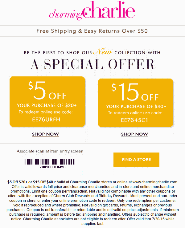 CharmingCharlie.com Promo Coupon $5 off $20 & more at Charming Charlie, or online via promo code EE76URFH