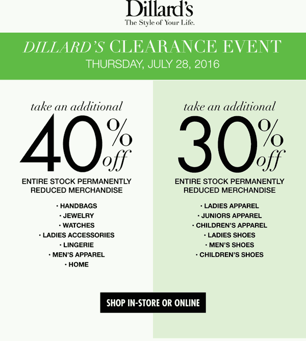 Dillards Coupon May 2018 Extra 30-40% off clearance today at Dillards, ditto online