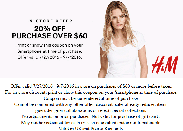 H&M Coupon April 2017 20% off $60 at H&M