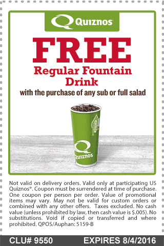 Quiznos Coupon November 2017 Free drink with your sub at Quiznos