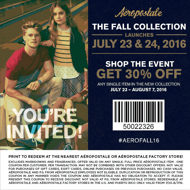 Aeropostale Coupon March 2017 30% off a single fall item at Aeropostale & factory locations
