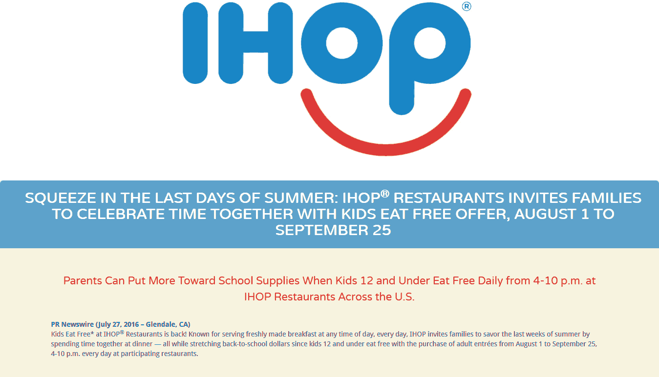 IHOP Coupon March 2018 Kids eat free 4-10p daily at IHOP