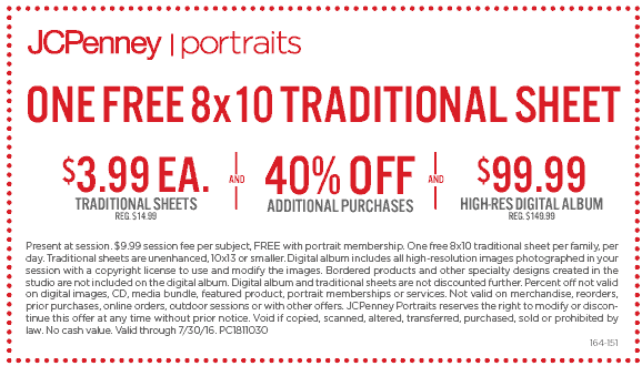 JCPenney Coupon July 2017 Free 8x10 portrait sheet, 40% off & more at JCPenney
