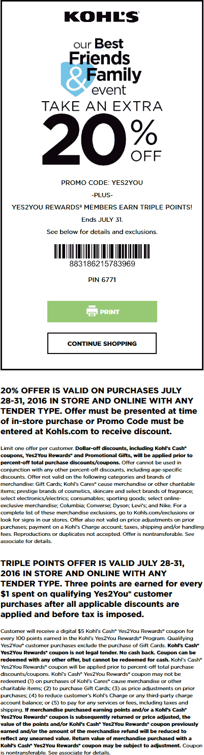 Kohls Coupon August 2017 Extra 20% off at Kohls, or online via promo code YES2YOU