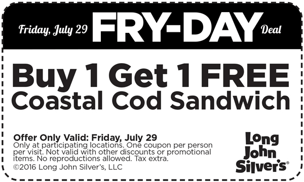 Long John Silvers Coupon December 2016 Second Cod sandwich free today at Long John Silvers