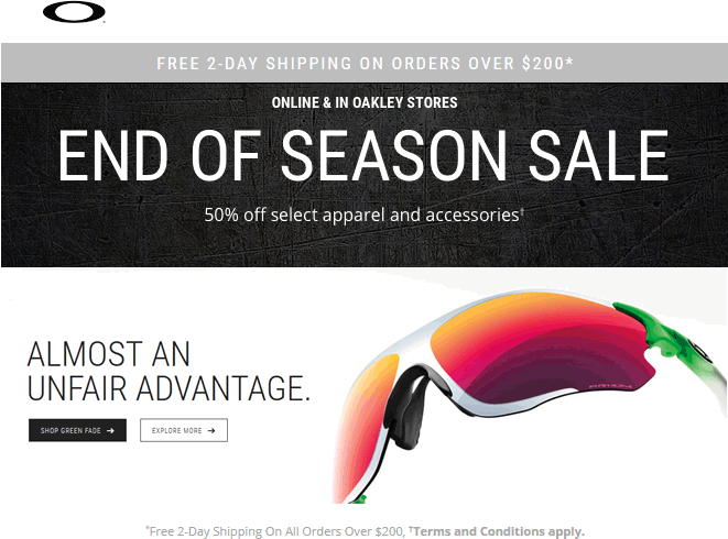 Oakley Coupon May 2018 50% off seasonal gear at Oakley, ditto online