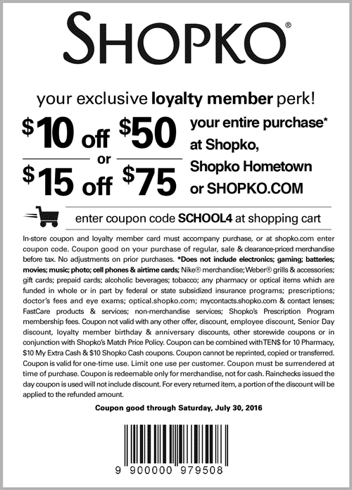 Shopko Coupon August 2018 $10 off $50 & more at Shopko, or online via promo code SCHOOL4