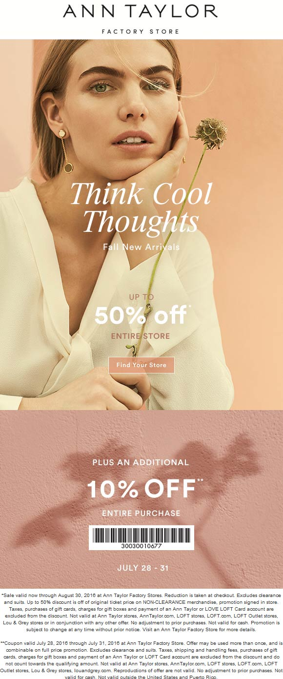 Ann Taylor Factory Coupon May 2018 Extra 10-50% off everything at Ann Taylor Factory