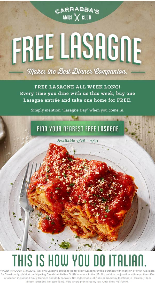 Carrabbas Coupon February 2017 Second lasagna free at Carrabbas restaurants