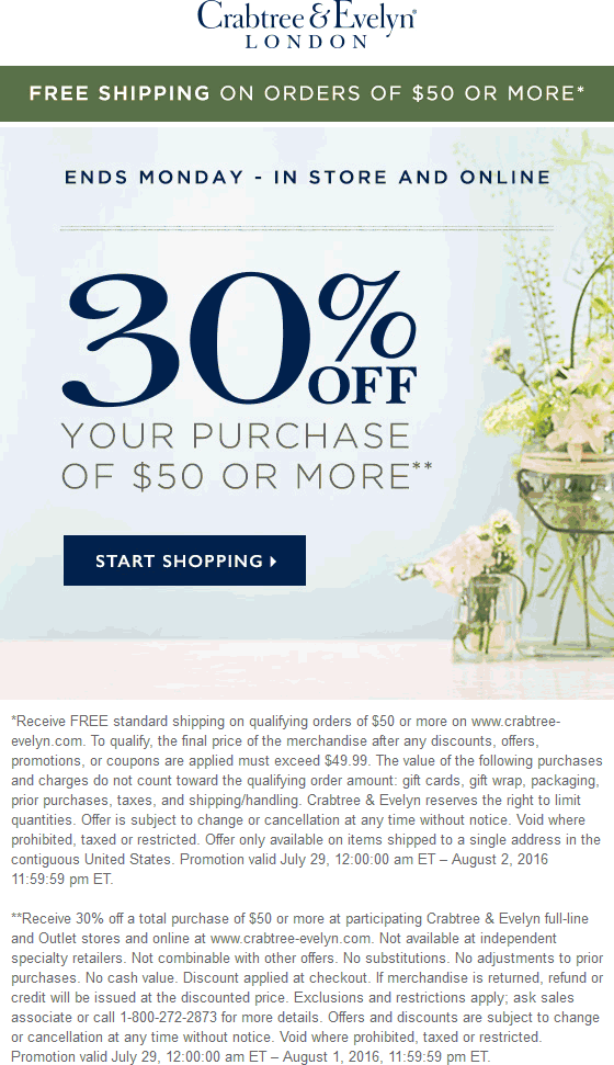 Crabtree & Evelyn Coupon February 2017 30% off $50 at Crabtree & Evelyn, ditto online