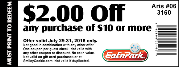 Eat n Park Coupon May 2017 $2 off $10 at Eat n Park restaurants
