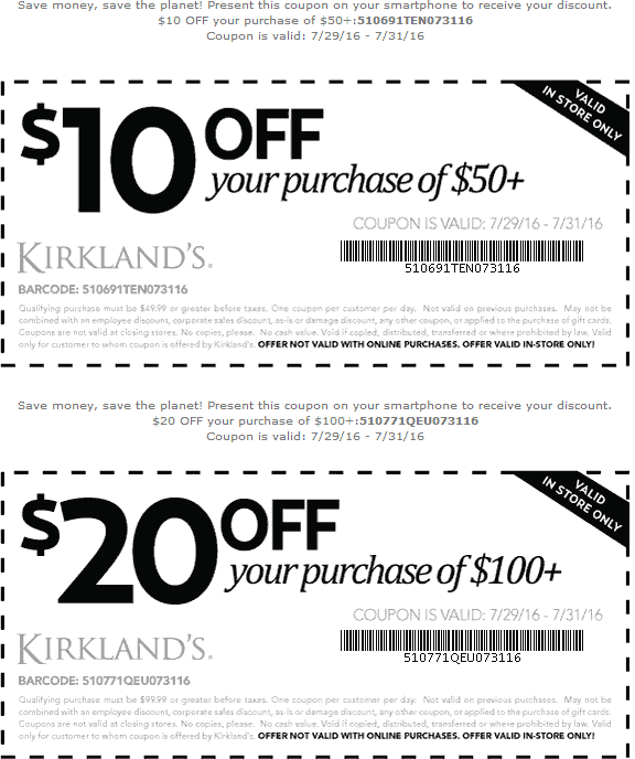 Kirklands Coupon March 2019 $10 off $50 & more at Kirklands