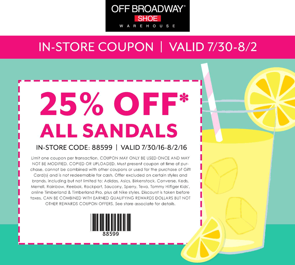 OffBroadwayShoes.com Promo Coupon 25% off sandals at Off Broadway Shoes