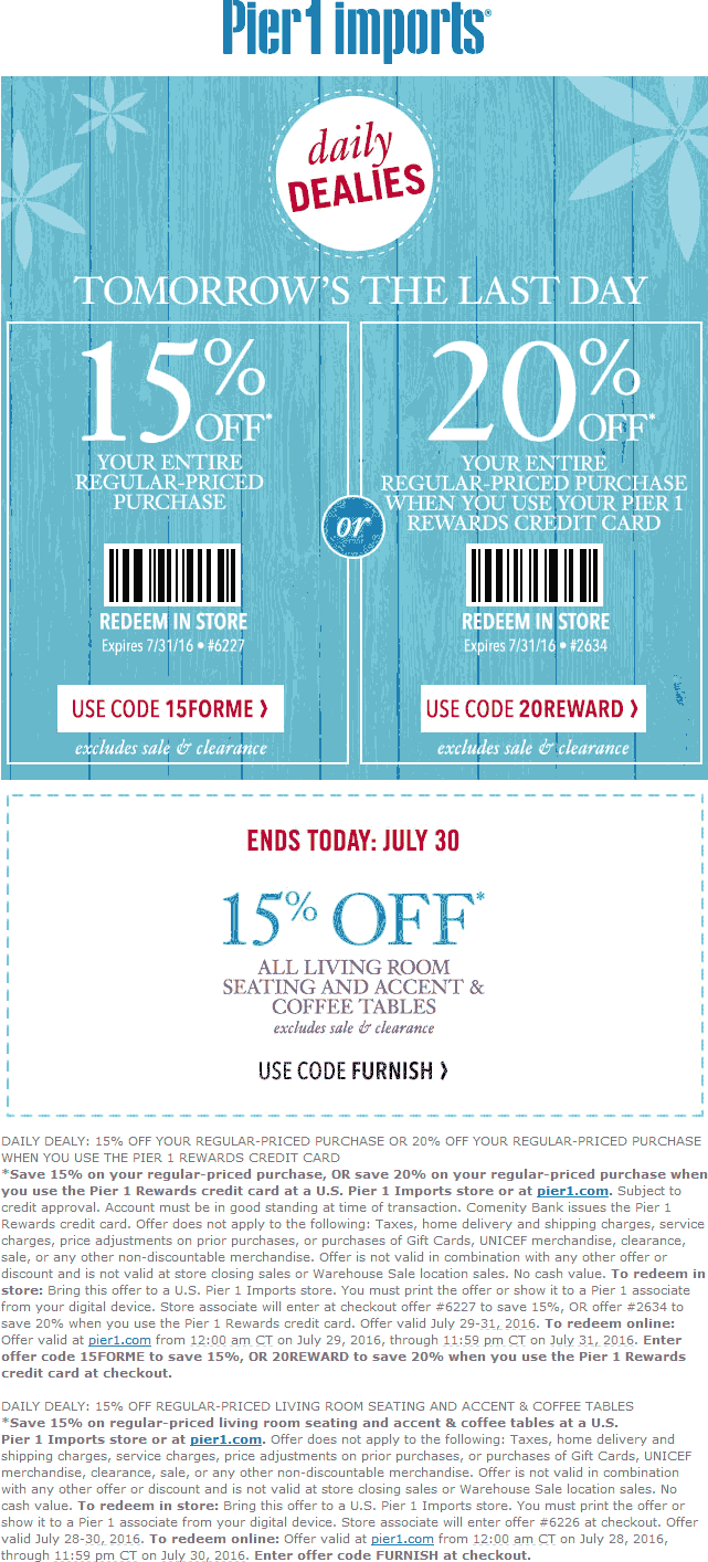 Pier 1 Coupon August 2018 15% off at Pier 1 Imports, or online via promo code 15FORME