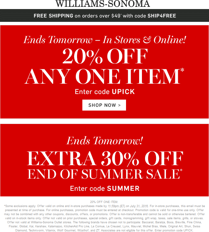 Williams-Sonoma Coupon December 2018 20% off a single item at Williams-Sonoma, or online via promo code UPICK