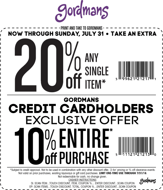 Gordmans Coupon January 2017 Extra 20% off a single item today at Gordmans