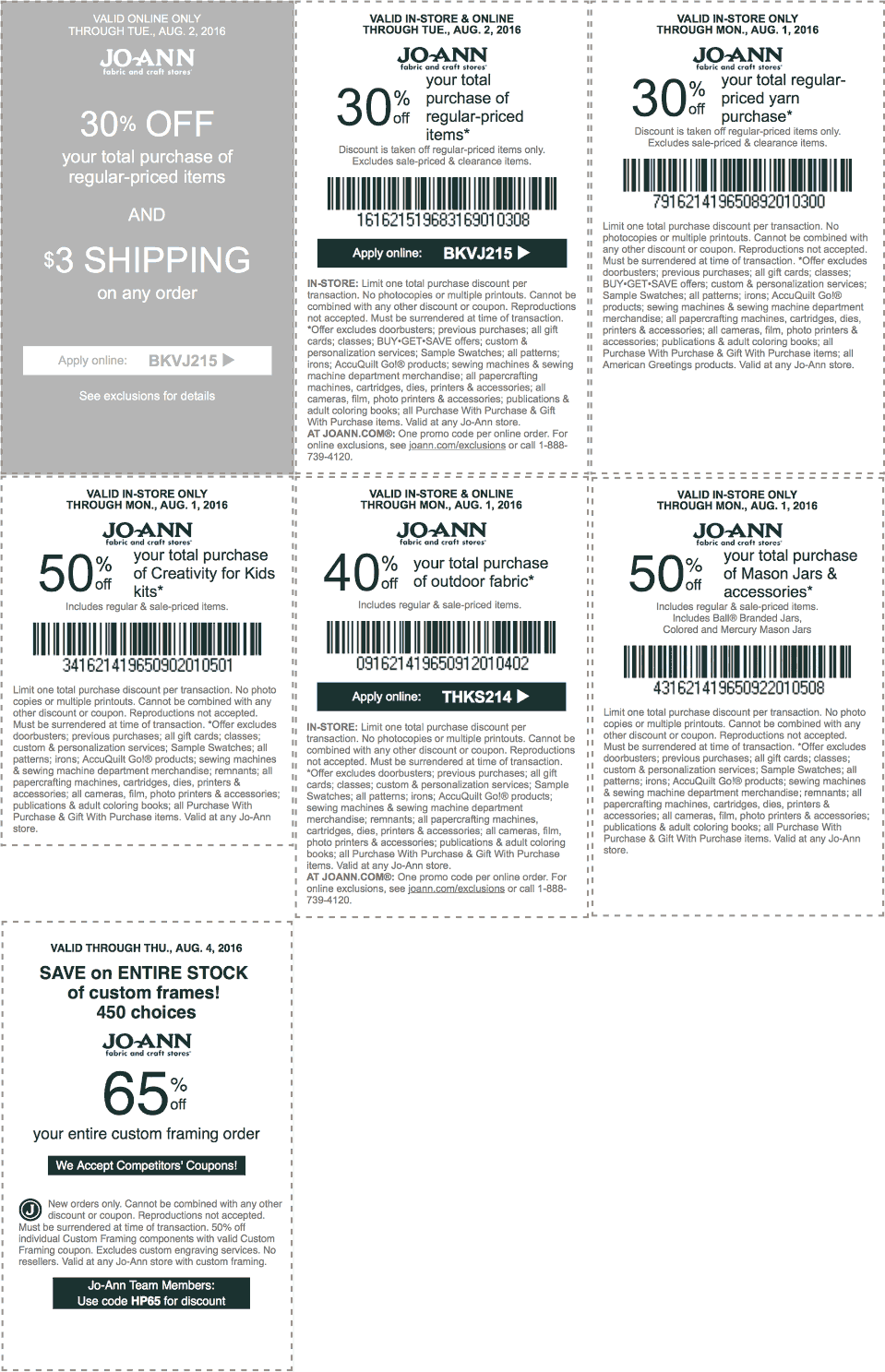 Jo-Ann Fabric Coupon December 2016 30% off & more at Jo-Ann Fabric, or online via promo code BKVJ215