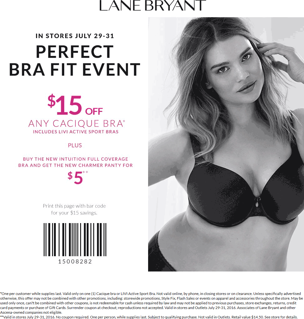 Lane Bryant Coupon February 2017 $15 off any Cacique bra today at Lane Bryant