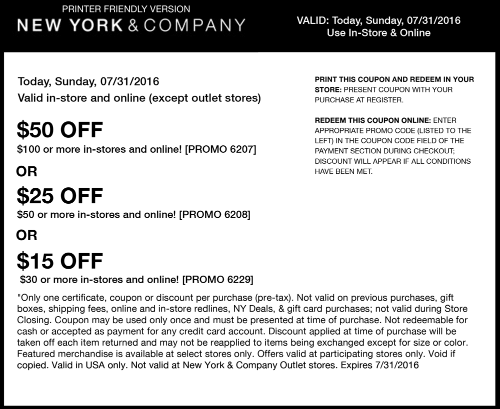 New York & Company Coupon April 2018 $15 off $30 & more today at New York & Company, or online via promo code 6229