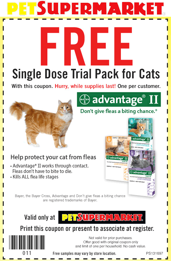 Pet Supermarket Coupon March 2017 Free dose of Advantage flea treatment at Pet Supermarket
