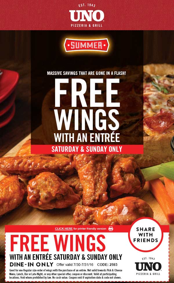 Uno Pizzeria Coupon April 2017 Free wings with your entree today at Uno Pizzeria