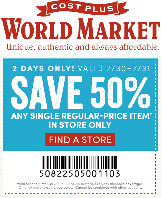 World Market Coupon June 2017 50% off a single item today at Cost Plus World Market