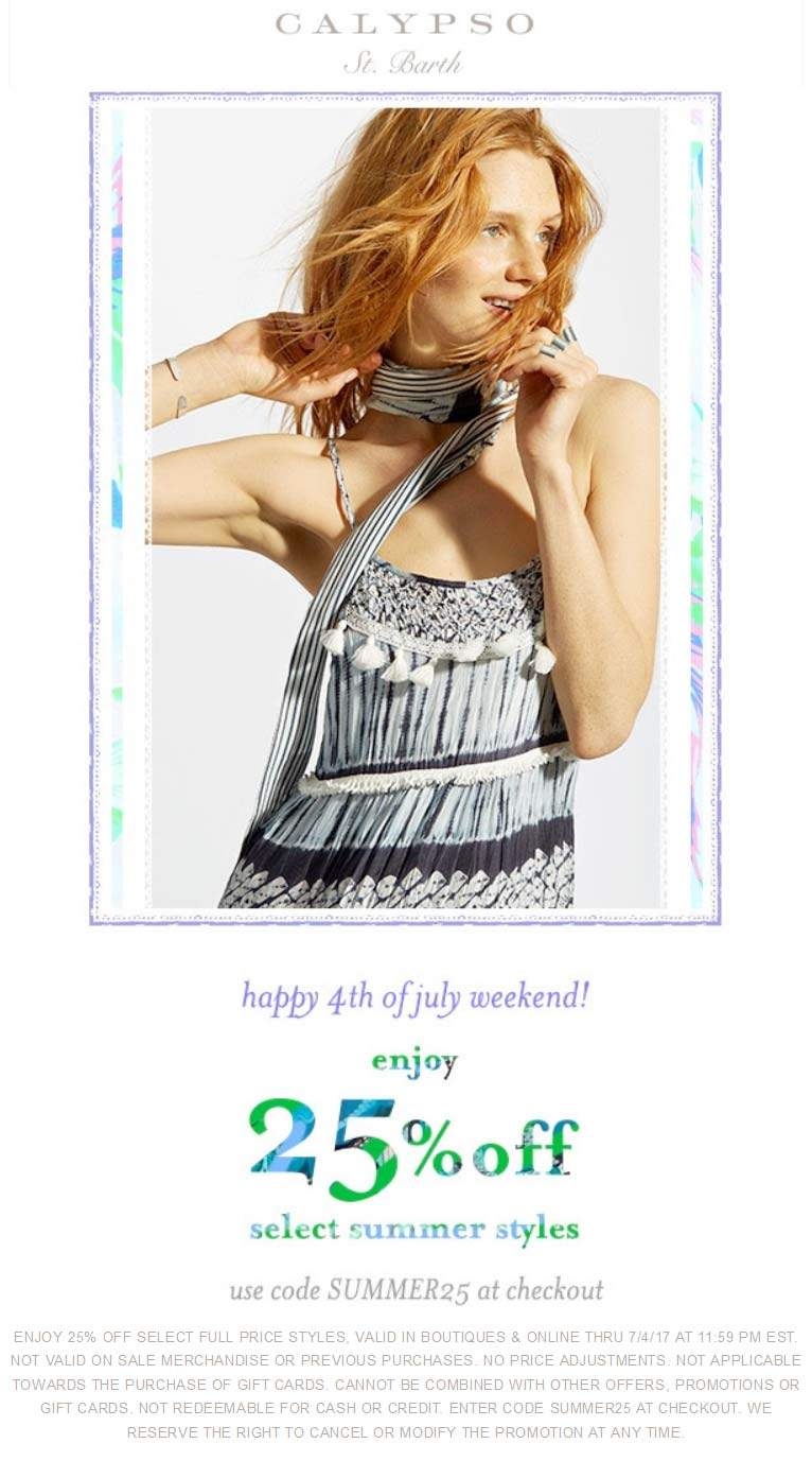 CalypsoSt.Barth.com Promo Coupon 25% off summer styles at Calypso St. Barth, or online via promo code SUMMER25