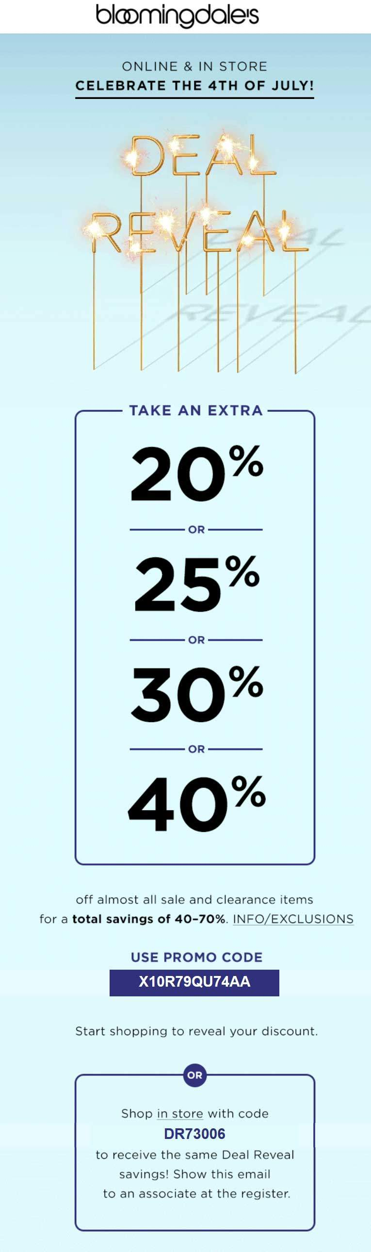 Bloomingdales Coupon January 2018 20-40% off sale & clearance at Bloomingdales, or online via promo code X10R79QU74AA